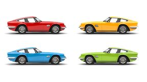 Free Set Of Red, Blue, Yellow And Green Vintage Fast Cars Royalty Free Stock Photo - 128505385
