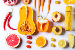Set Of Red, Orange And Yellow Vegetables Stock Photo