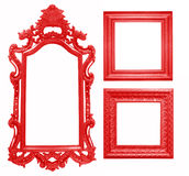 Set Of Red Vintage Frame Isolated On White Background Stock Photo