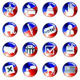 Set Of Red White And Blue Election Icons Stock Image