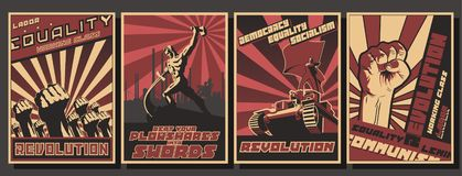 Free Set Of Retro Communism Propaganda Posters Stock Photo - 125973660