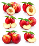 Set Of Ripe Peach Fruits With Green Leaves Isolated Royalty Free Stock Photography