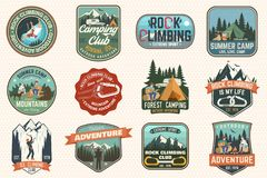 Set Of Rock Climbing Club And Summer Camp Badges. Vector. Stock Photography