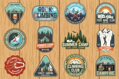 Set Of Rock Climbing Club And Summer Camp Badges. Vector. Stock Images
