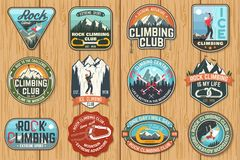 Set Of Rock Climbing Club Badges On The Wood Board. Vector. Stock Photography