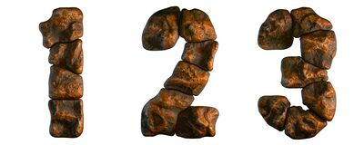 Free Set Of Rocky Numbers 1, 2, 3. Font Of Stone On Black Background. 3d Stock Image - 196139551