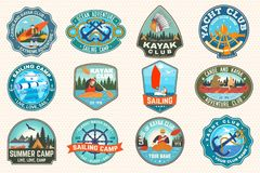 Free Set Of Sailing Camp, Canoe And Kayak Club Patches. Vector. Concept For Shirt, Print, Stamp. Design With Sea Anchors Royalty Free Stock Photo - 154857415