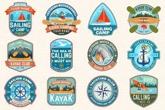 Free Set Of Sailing Camp, Canoe And Kayak Club Patches. Vector. Concept For Shirt, Print, Stamp. Design With Sea Anchors Stock Photos - 154857423