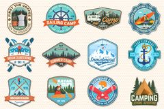 Free Set Of Sailing Camp, Canoe, Snowboarding, Climbing And Kayak Club Patches. Vector. Concept For Shirt, Print, Stamp Or Royalty Free Stock Images - 155524789