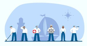 Free Set Of Sailors And Captain. Collection Of Flat Seaman In Uniform. Ship Crew. Royalty Free Stock Photo - 191399935
