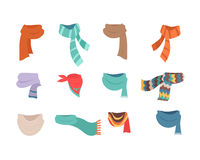 Set Of Scarves For Cold Weather To Boys And Girls Royalty Free Stock Photo