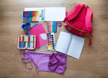 Free Set Of School Supplies Stock Photography - 57592072