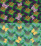 Set Of Seamless Flowers And Butterflies Pattern Royalty Free Stock Image