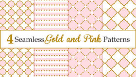 Set Of Seamless Gold And Pink Patterns. Baby Girl Patterns Royalty Free Stock Photo