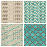 Set Of Seamless Knitting Patterns Stock Photos
