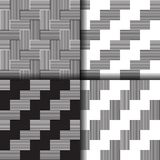 Set Of Seamless Linear Black And White Pattern Royalty Free Stock Photos