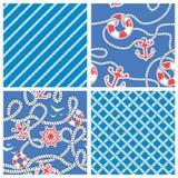 Set Of Seamless Nautical Patterns On Blue Background Stock Image