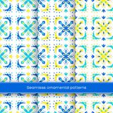 Set Of Seamless Ornamental Patterns. Traditional Turkish, Morrocan, Arabesque, Mexican Ornaments, Hand Drawn Vector Stock Image