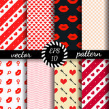 Set Of Seamless Patterns Valentine&x27;s Day. Romantic Wallpaper. Stock Image