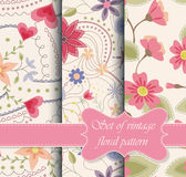 Set Of Seamless Patterns Vintage Floral Stock Photos