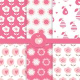 Set Of Seamless Patterns With Abstract Floral Elements Stock Photos