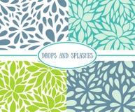 Free Set Of Seamless Stylish Patterns With Drops. Stock Photo - 53603300