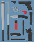 Set Of Self Defense And Street Weapon. Stock Photography