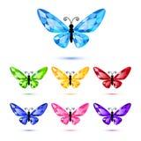 Set Of Seven Diamond Butterflies Stock Photo