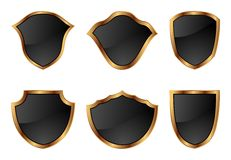 Set Of Shields In 6 Different Shapes Royalty Free Stock Photos