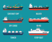 Set Of Ships In Modern Flat Style. Stock Images