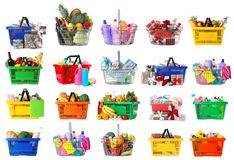 Free Set Of Shopping Baskets With Grocery Products, Gifts And Household Chemicals On Background Stock Photos - 162143373
