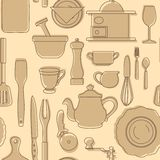 Set Of Silhouettes Of Kitchen Utensils. Vintage Style. Vector Illustration. Stock Photos