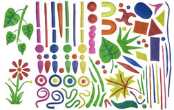 Set Of Simple Design Elements From Plasticine Stock Image
