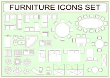 Set Of Simple Furniture Vector Icons As Design Elements Royalty Free Stock Images