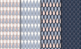 Free Set Of Simple Outlined Geometric Patterns. Linear Minimalistic Background Set. 4 Repeating Textures With Drop Motif. Stock Image - 80766821