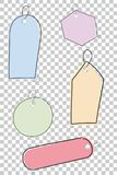 Set Of Simple Sketchy Blank Tags With Pastel Color, At Transparent Effect Background Royalty Free Stock Image