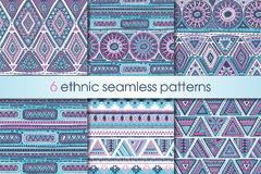 Set Of Six Colorful Vector Seamless Patterns Stock Image