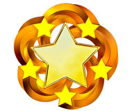 Free Set Of Six Shiny Gold Stars In Motion Royalty Free Stock Image - 27396186