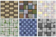 Free Set Of Six Stone Textures.Texture Of Old Stone Tiles, Seamless Background Stone Wall And Grass. Vector Illustration For User Royalty Free Stock Photo - 138136525