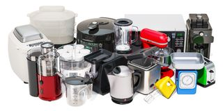 Set Of Small Kitchen Home Appliances. Toaster, Kettle, Food Steamer, Mixer, Blender,  Yogurt Maker , Multicooker, Juicer, Grinder Stock Images