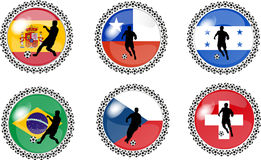 Set Of Soccer Buttons 2 Royalty Free Stock Photos