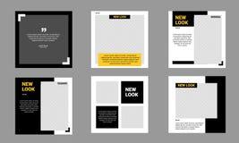 Free Set Of Social Media Post Template Editable Minimal Banner Black And Yellow Royalty Free Stock Image - 174028936