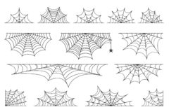 Free Set Of Spider Web For Halloween. Halloween Cobweb, Frames And Borders, Scary Elements For Decoration Stock Images - 156940154