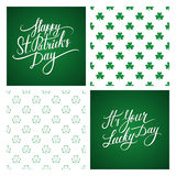 Set Of St. Patrick S Day Greeting Cards And Backgrounds. St. Patrick S Day Lettering. Shamrock Seamless Pattern. Royalty Free Stock Photography