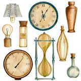 Set Of Steampunk Elements With Bottles, Clocks, Lamp, Barometer And Sandglass. Royalty Free Stock Photography