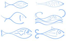 Set Of Stylized Fish In Blue Tones Isolated Stock Photography