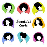 Set Of Stylized Women`s Busts With Curly Hair Royalty Free Stock Images