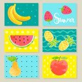 Set Of Summer Fruit Cards. Royalty Free Stock Photos