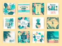 Free Set Of Summer Tropical Designs. Vector Templates. Royalty Free Stock Images - 95550799