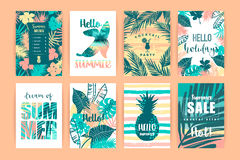 Free Set Of Summer Tropical Designs. Vector Templates. Royalty Free Stock Photo - 95551385